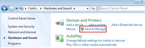 open device manager in Windows 7