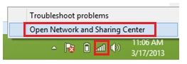 open network and sharing center in Windows 8