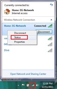 open network connection status in Windows 7