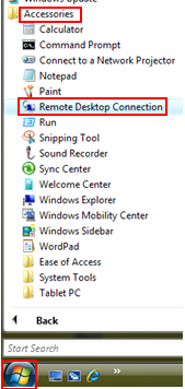 Open Remote Desktop Connection