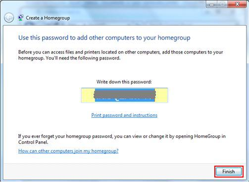 password for homegroup in Windows 7