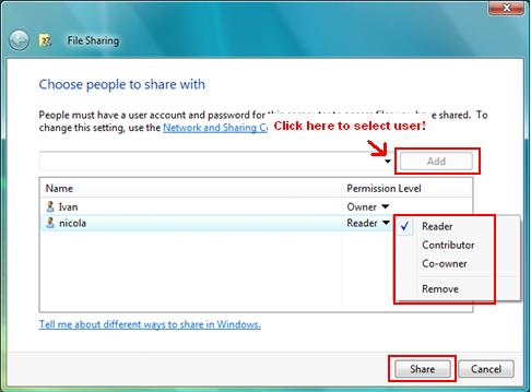 Password Protected File Sharing in Windows Vista