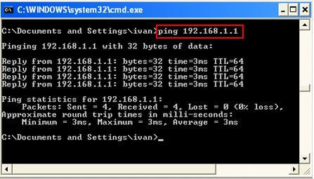 ping in command prompt (cmd.exe)
