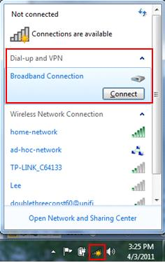 PPPoE dial up connection