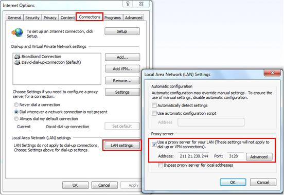 Proxy server setup in Internet Explorer web browser