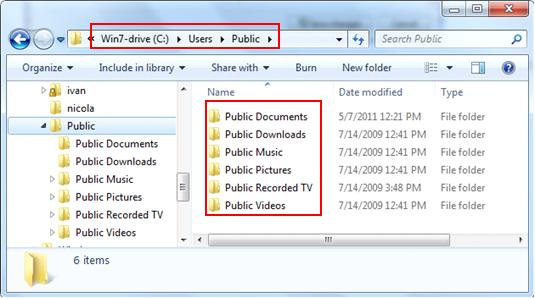public folder location in Windows 7