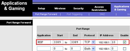 RDP remote desktop port forwarding