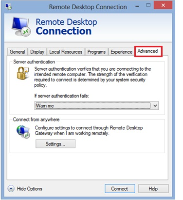 remote desktop client advanced tab