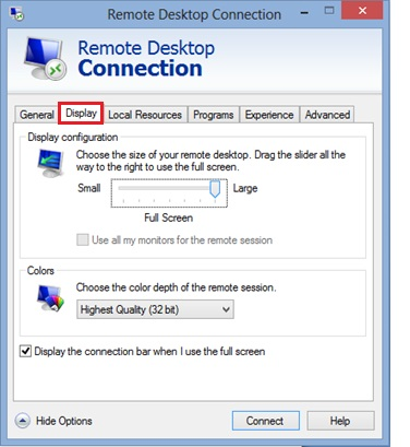 Windows 8 remote desktop client display tab
