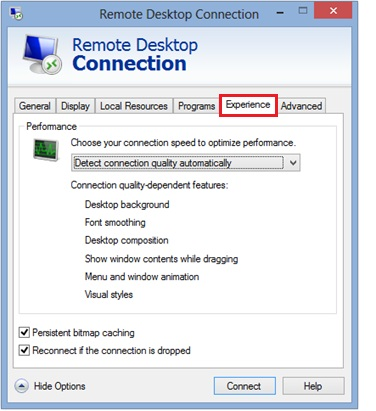 remote desktop client experience tab
