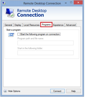 remote desktop client programs tab