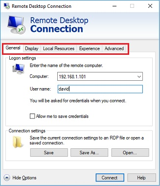 remote desktop connection options