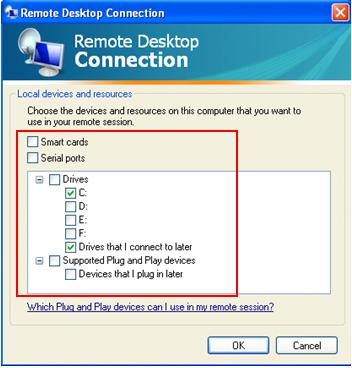 remote desktop file sharing XP SP3