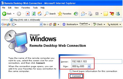 Remote Desktop Web Connection