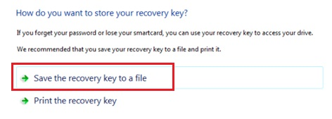 save recovery key to file