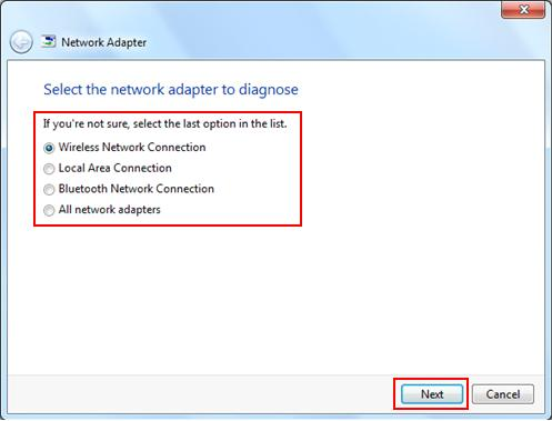 select the network adapter to diagnose