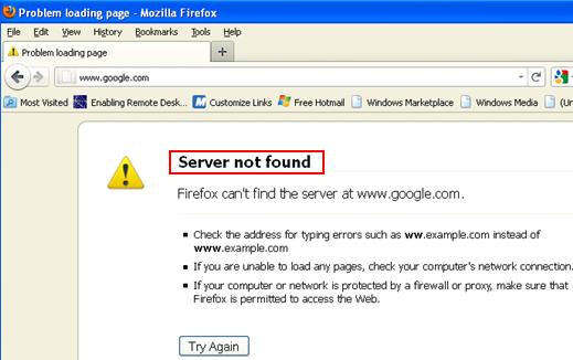 DNS problem Internet problem - server not found