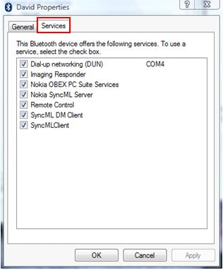 services for bluetooth device
