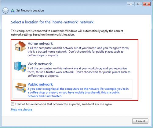 set network location type in Windows 7