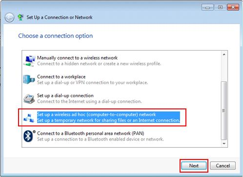 set up ad hoc wireless connection Windows 7