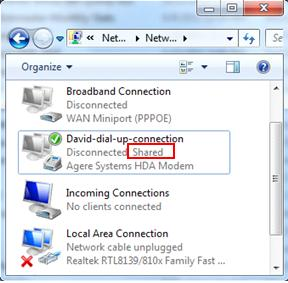 shared dial up internet connection