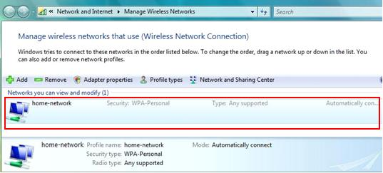 Show Added Wireless Profile