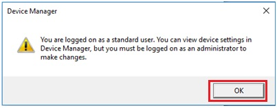 standard user prompt in Windows 10