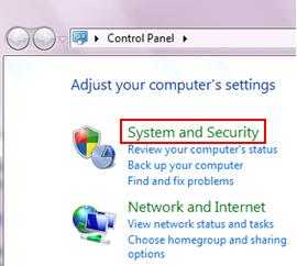 system and security in Windows 7