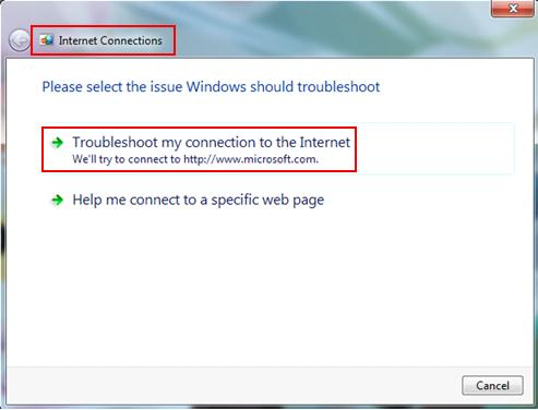 troubleshoot internet connections or network problem