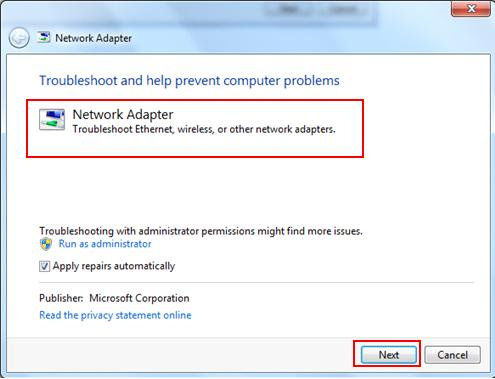 troubleshoot network adapter problem