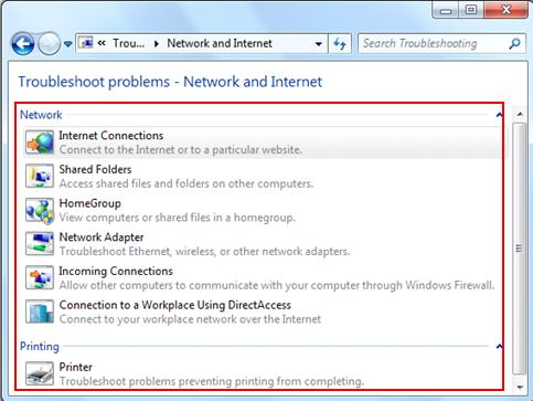 troubleshoot problems - network and Internet