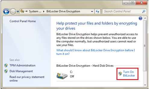 turn on BitLocker with encryption