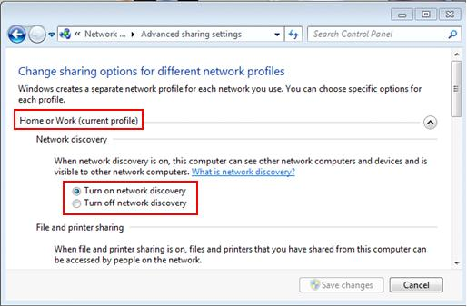 Windows 7 - turn on or off network discovery