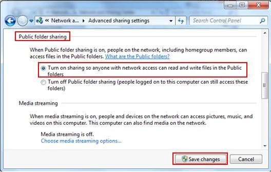 turn on public folder sharing settings
