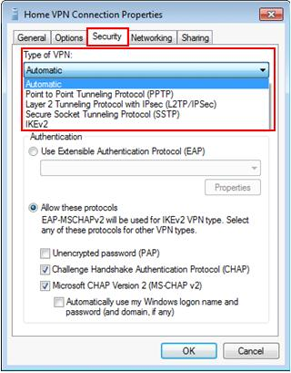Windows 7 - type of supported VPN