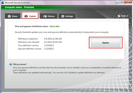 update virus and spyware definitions