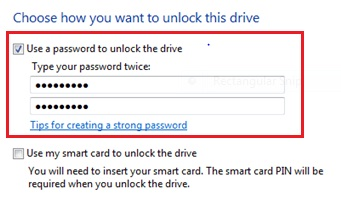 use password to unlock drive