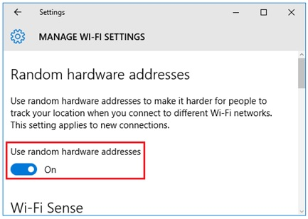 use random hardware addresses for all and new wireless network