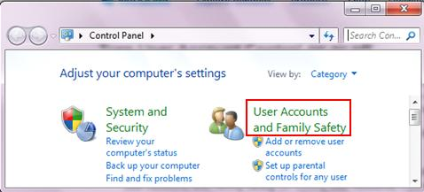 user accounts and family safety win7
