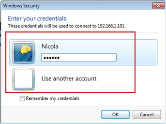 username password for remote desktop access