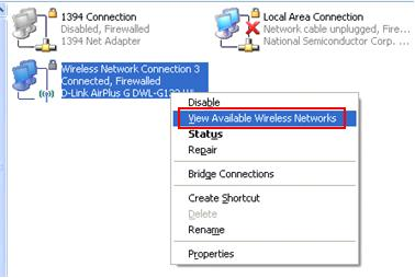 View Available Wireless Networks