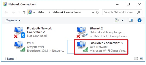 Windows 10 virtual wifi connection