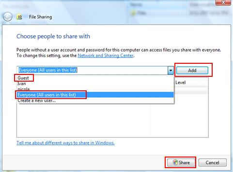 Vista File Sharing Window