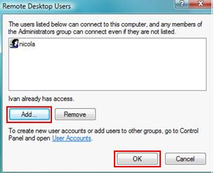 Vista Remote Desktop Users
