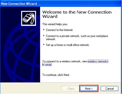 welcome to the new connection wizard in Windows XP
