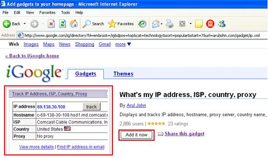 iGoogle - What's my IP address, ISP, country, proxy
