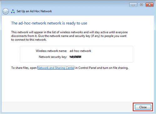 Windows 7 - set up an ad hoc network