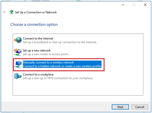 manually connect to a wireless network in Windows 10