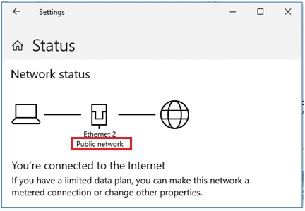 Windows 10 public network profile
