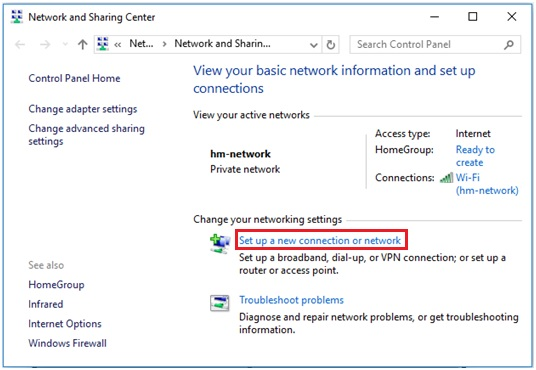 Windows 10 - set up a new connection or network